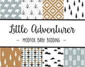Little Adventurer Baby Bedding - Woodland Animal Bedding - Woodland Crib Sheet -Mustard Crib Sheet-Blue Crib Sheet-Crib Bedding-Crib Blanket