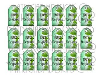 100% Organic Set of 18  Printable Tags/ Digital Download - Hang Tags/ Digital Download Printable Hang Tags