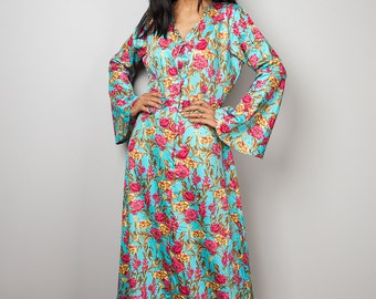 Floral Dress / Modest Long Maxi Dress / Boho Dress with Flower Print : Bohemian Soul Collection No.1