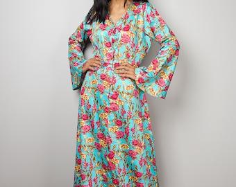 Floral Dress / Modest Long Maxi Dress / Boho Dress with Flower Print : Bohemian Soul Collection No.1