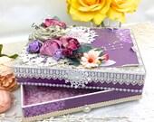 Wedding Purple Keepsake Gift Box Vintage Inspired - Handmade Trinket Box Decor Country Style | Shabby Chic Altered Box OOAK Wedding Gifts