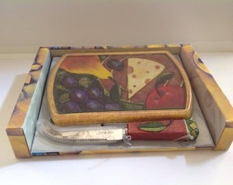Harvest Cheese Board and Cheese Knife Set, Glass Cheese Board, Cheese Server, Cheese Cutting Board