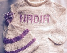Set 3/6 mos Sweater and HatSet w/ 3-Letter Monogram or Name or Initial