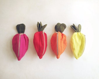 Carrot Purse / Zipper Pouch / Bag - Choose one, Hot Pink - Red - Orange - Bright Yellow