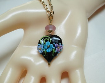 Onyx Heart Lampwork Bead Pendant Necklace 2