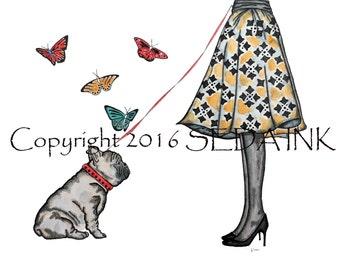 Girl Walking Dog Art Print, French Bulldog Art Print, Dog Walker, Bulldog Wall Art, Pet Print, Dog Art, Custom Pet Art Prints