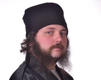 Men's Cotton Nightcap Black Victorian Night Cap Smoking Hat Flannel Round Hat Gentleman's Hat Retro Hipster Hat
