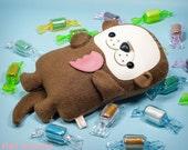 Otter plush doll, Otter stuffed animal, Sea Otter stuffy doll, Baby otter ocean animal toy, Kawaii plushie kids room decor, Handmade gift