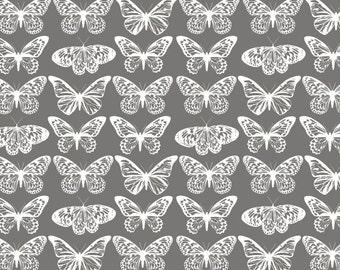 Serenity - Grey Butterflies from FabScraps