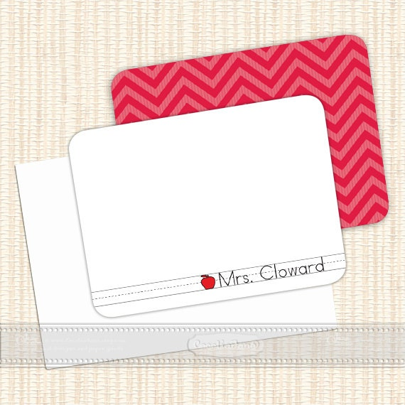 personalized notecards - set of 16 - thank you cards, teacher notecards, chevron notecards, personalized stationery, NS119