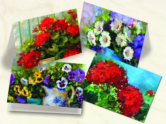 notecard set, thank you cards, Nancy Medina fine art notecards, floral notecards, pansies notecards, daisy thank you cards, NM_S2
