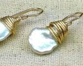 June Birthstone Earrings, Pearl Briolette Earrings, Pearl Dangle Earrings, Bridal Earrings, Gift for Her Birthday/Anniversary
