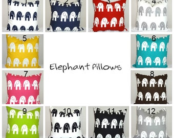 Elephant Pillow Covers Nursery Baby Boy Baby Girl Baby Shower Gift Pillow Cover 12 Colors Choose Size