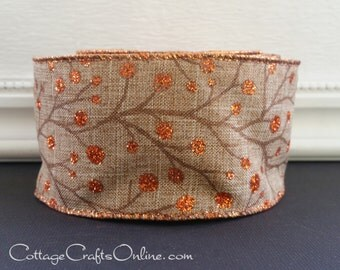 "Fall Wired Ribbon 2 1/2"", Copper Glitter Berries Light Brown Heather, TEN YARD ROLL, Autumn, Thanksgiving ""Copper Gem"" Wire Edge Ribbon"