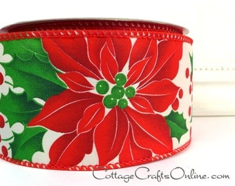 """CLEARNACE! Christmas Wired Ribbon, 2 1/2"""", Red Poinsettia, Holly Berry Print - TWENTY FIVE Yard Roll - """"Poinsettia Pride"""" Wire Edged Ribbon"""