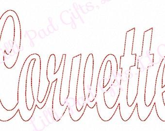 Corvette - Reverse Applique - Machine Embroidery - 11 Sizes