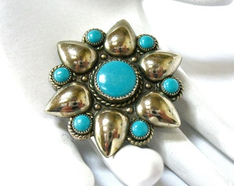 1950's signed BELL Brooch, Turquoise Flower, Floral Pin, Excellent