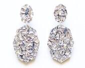 Gemstar Double Drops - Silver Lush Glitter - Geometric Drop Earrings Laser Cut