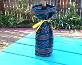 Fabric Bottle Gift Bag, Wine Bottle Sleeve, Reusable Gift wrapping, Teal blue Table Decor, Party Favor Housewarming, Wedding  centrepiece