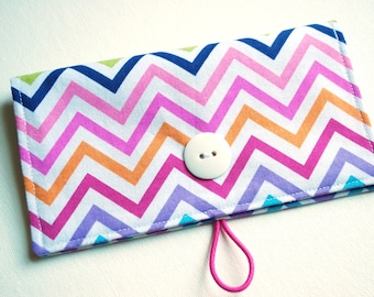 Rainbow Chevron Checkbook Cover - with Closure, with Pen Holder, OPTIONAL Vinyl Duplicate Check Divider