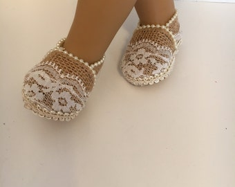 18inch doll shoes, Pearly Jane Doll Shoes, Burlap, lace and pearls doll shoes, made to fit 18 inch dolls such as American Girl and others