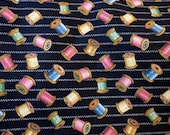 FABRIC by the YARD, Concord Fabrics, Inc. Designed by Klessers, Crafted with Pride in the USA, Wood Thread Spool Print Cotton Sewing Fabric
