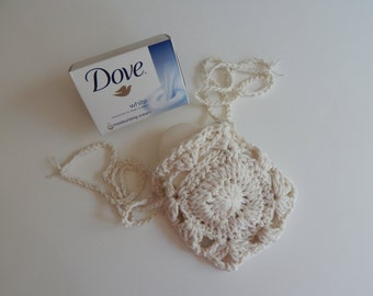 Crochet Soap Holder Bag - Cotton Drawstring Soap Saver - Natural Off White