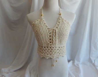 Crochet Halter Top - Sexy Lace Up Boho Festival Top With Beads - Natural Off White