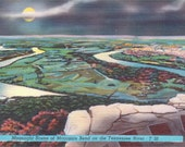 Tennessee River, Moccasin Bend, Moonlight - Linen Postcard - Unused (NNN)