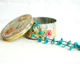 Mexican Jewelry Box Round Tin Trinket Container Vintage Hand Colored Folk Art