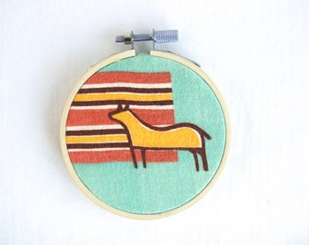 Southwest Wall Hanging Horse Vintage Mid Century Fabric 3 Inch Embroidery Hoop Southwestern Mondernist Decor
