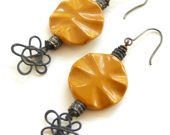 Rustic Boho Gold and Black Handmade Earrings - Gemstone Mookaite Slices and Atomic Metal Headpins - Shabby Chic GLAM Grunge