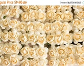SALE 10% OFF New Item! 144 Paper Roses / .75 inches 20 Mm / Blush Cream / 3/4 Inches / 12 Dozen Artificial Flowers / Bridal / Wedding Favors