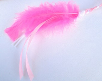 Cat Toy, Ribbon Wand, Pink and White