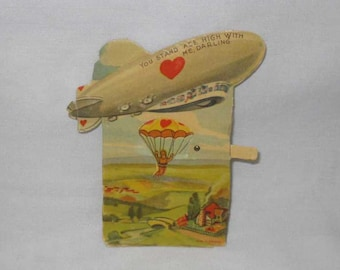 "5"" German Germany Zeppelin Parachutist Moveable Valentine"