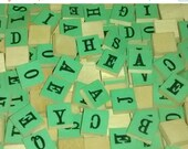 On Sale Milton Bradley 1940's , Anagrams , 279 Count , Green Wooden Letters , No. 4720
