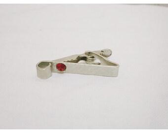 Vintage 1970s Silver & Ruby Tie Clip