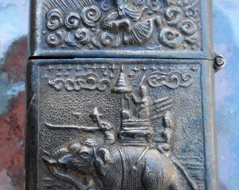 Vintage Silver Siam Embossed Lighter