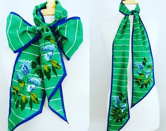 SALE// Stripes Floral Scarf // Green Blue Headband // Sash // Nautical // Mod
