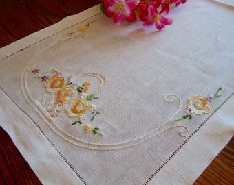 Embroidered Dresser Scarf Vintage Linen Table Runner Floral Hand Embroidery