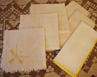 Linen Napkins Set of Six with Yellow Accents Shabby Chic Vintage