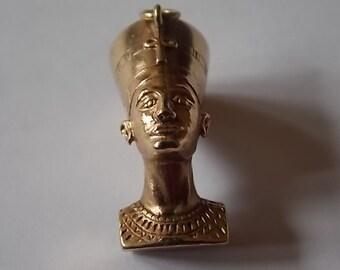 Vintage 9ct Gold Egytptian Nefertiti Charm Necklace Pendant Big HEAVY