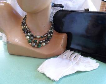 Necklace, 1960s, Green, St Patrick's Day, triple strand, classy.
