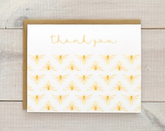 Bee Thank You Notes, Honey Bee Thank You Cards, Patterned Thank You Cards, Bee Stationery, Baby Shower Thank You Cards, Bee Cards, Set of 10