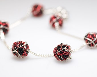 Chain bracelet Ball bracelet Silver Wire bracelet Black bracelet Red bracelet Delicate bracelet Unique birthday gift Geometric jewelry