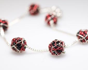 Chain bracelet Ball bracelet Silver Wire bracelet Black bracelet Red bracelet Delicate bracelet Unique birthday gift Geometric jewelry