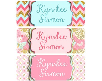 FAST SHIPPING!  Name Labels, Girl, Dishwasher Safe, Waterproof, School Labels, Daycare Labels, Clothing Labels, Girl, Gold Pink Butterflies