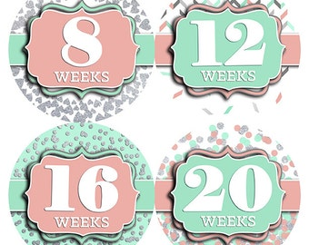 FREE GIFT Baby Bump Stickers, Pregnancy Gift, Weekly Pregnancy Stickers, Pregnancy Baby Belly Stickers, Glitter, Silver, Pink, Mint