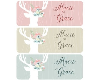 Woodland Name Labels, Girl, School Name Labels, Daycare Name Labels, Baby Bottle Labels, Waterproof, Clothing, Deer, Flowers, Woodland