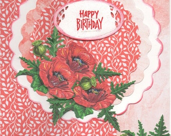 Red Poppies card, birthday card, poppies birthday card, red birthday card, flower card, flower birthday card, red flower birthday card,